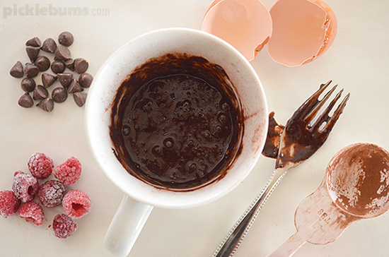 Chocolate Mug Pudding - 3 ingredients, gluten free, and easy enough that the kids can cook it all themselves!