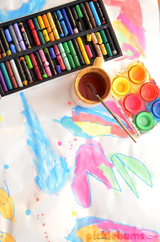 4 Easy Art Activities we did last week - Water Colours and Pastels