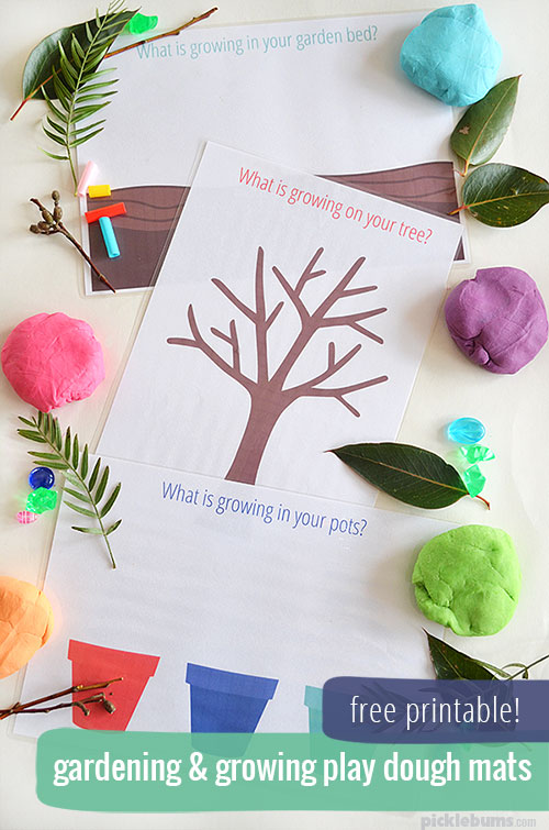Free Printable Garden Play Dough Mats!