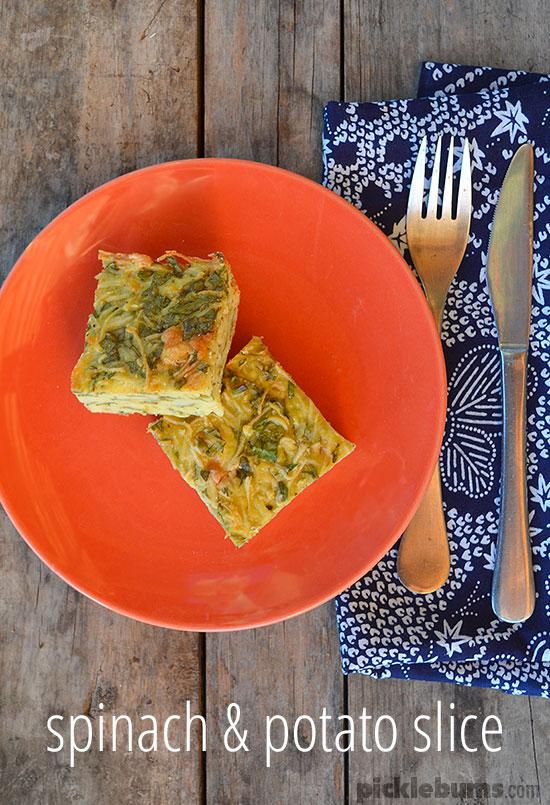 Spinach and Potatoe slice - an easy crustl-ess quiche recipe