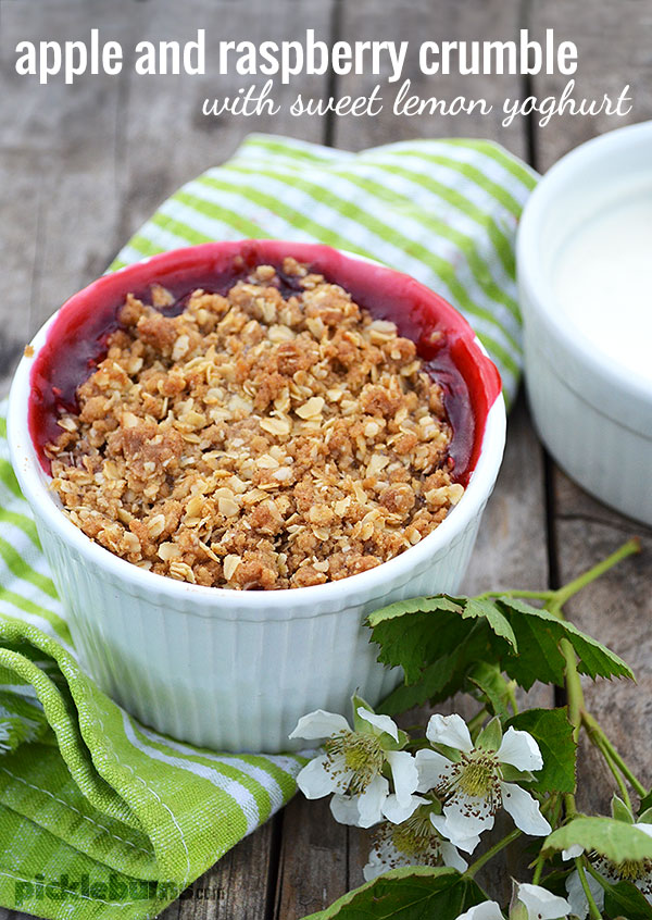 Apple and Berry Crumble with Sweet Lemon Yoghurt, a quick and easy dessert recipe.