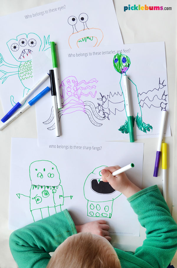 child drawing monsters with printable drawing prompts