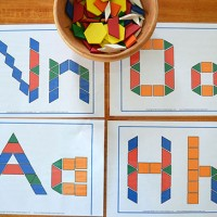A simple invitation to play with pattern blocks - find lots of ideas, activities and resources for pattern block play