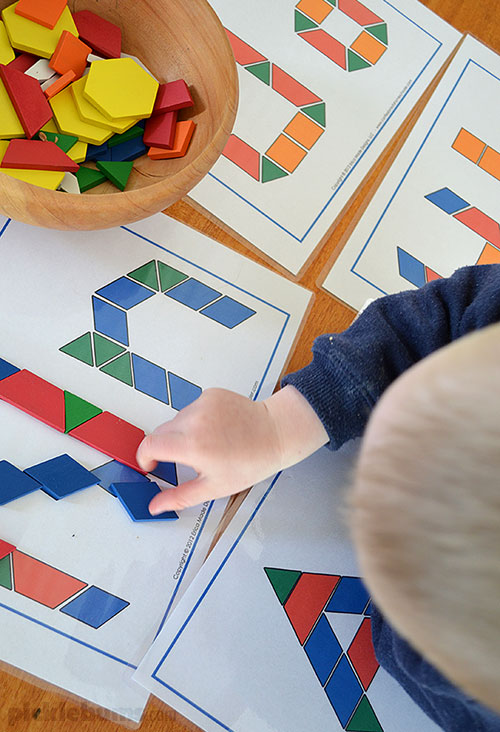 A simple invitation to play with pattern blocks -  plus lots of ideas, activities and resources for pattern block play