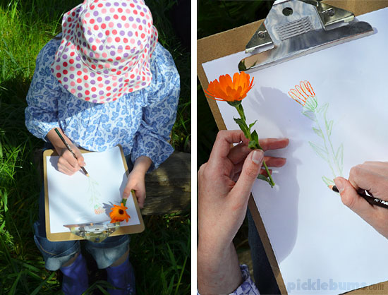 Ideas and Activities for outside play - take art outside