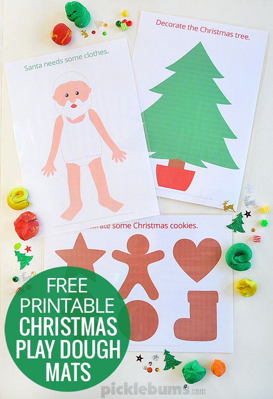 Free printable Christmas play dough mats!