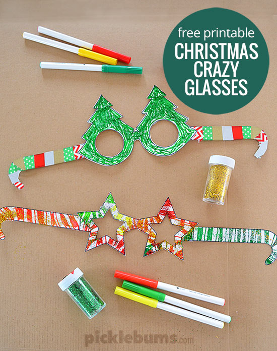 Free printable christmas glasses picklebums for Santa glasses for crafts