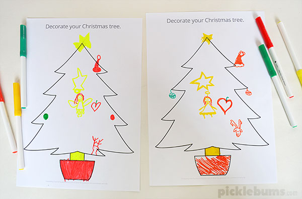 christmas drawing and listening game with a free printable christmas tree drawing prompt - Christmas Tree Decoration Games