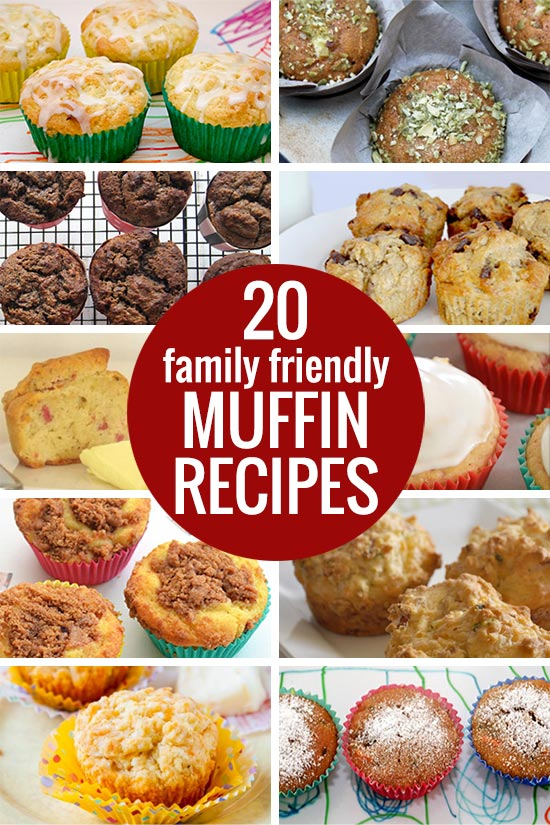 20 Family Friendly Muffin Recipes - including sweet and savoury as well as gluten free, dairy free, egg free and sugar free options.