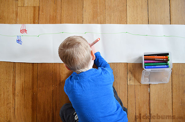 An easy drawing activity - Simply changing the shape or size of the paper can encourage new creativity and imagination