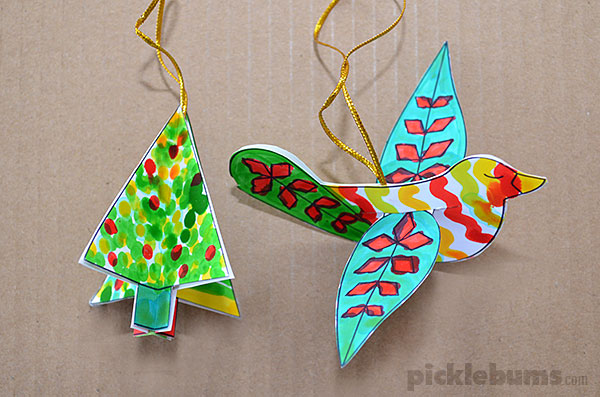 graphic regarding Printable Christmas Crafts identify Cost-free Printable Xmas Decorations: Dove and Tree - Pickles