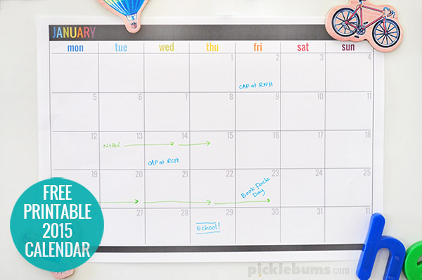 Get organised in 2015 with this free printable calendar