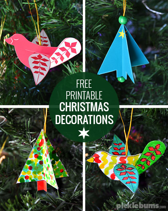 Printable Christmas Ornaments.Free Printable Christmas Decorations Dove And Tree Picklebums