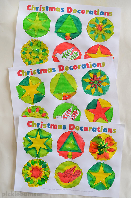 Christmas garland printable painted by kids