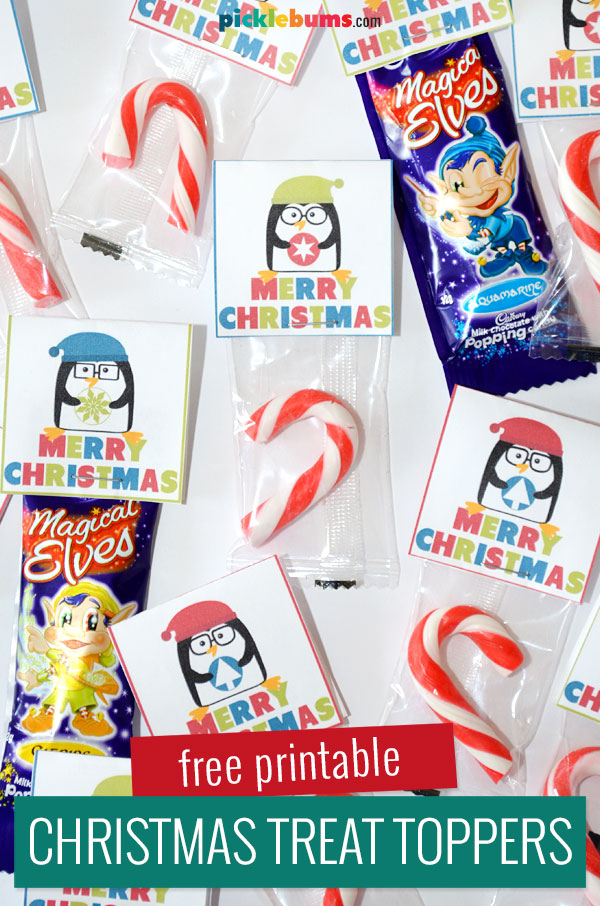 printable penguin treat toppers on candy canes and chocolates