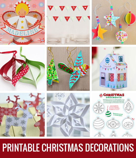 Nine free printable Christmas decorations!