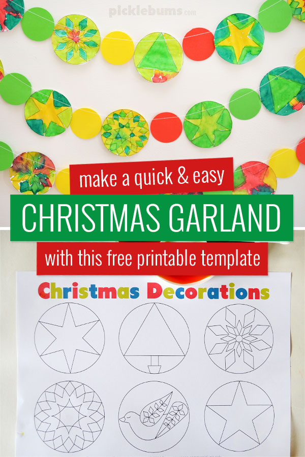 Sewn paper Christmas garland and printable template