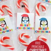 Free Printable Christmas Treat Toppers - the perfect size to staple to the top of a little candy cane or treat!