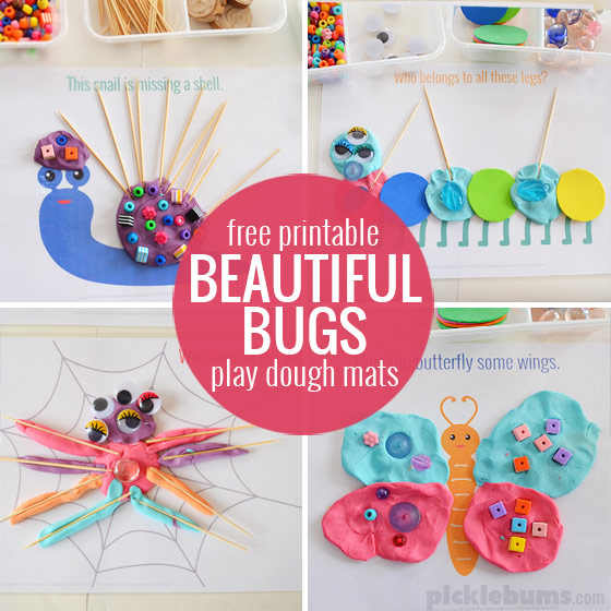Beautiful Bugs! Free printable play dough mats