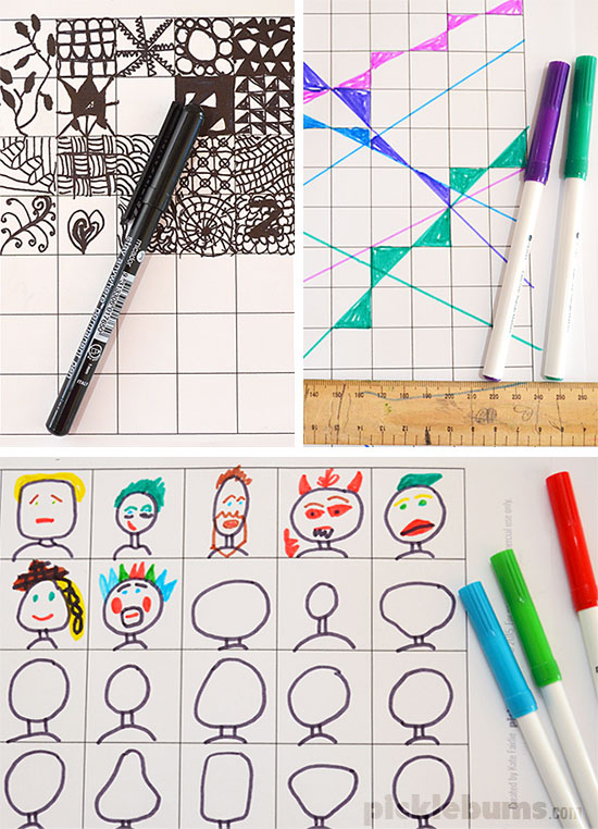 Fun Grids! - free printable grids for play and learning. Lots of ideas for art and creativity.