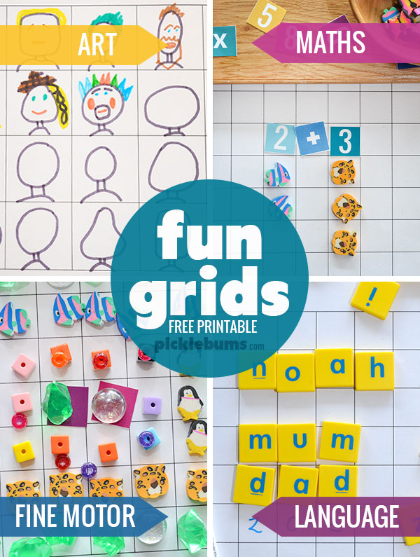 Fun Grids! - free printable grids for art, maths, fine motor, and language play and learning!