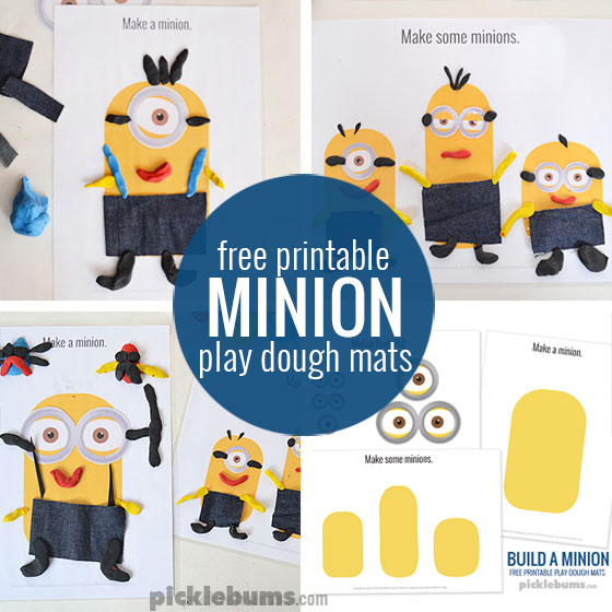 Make a Minion! Free printable Minion play dough mats.