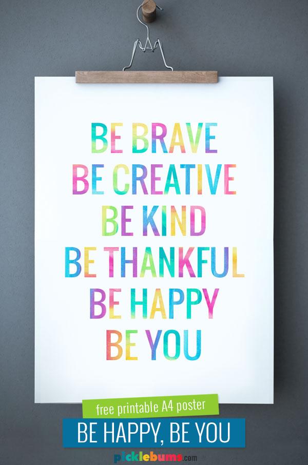 Printable 'Be You' poster hung on wall