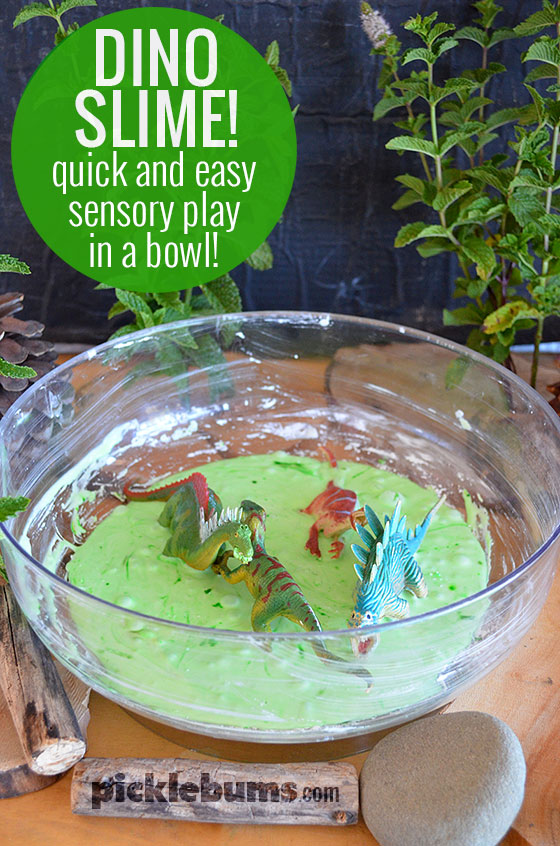 Dino Slime! Quick and easy sensory play in a mixing bowl!