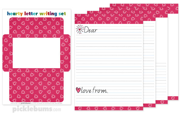 free printable valentines letter writing set picklebums