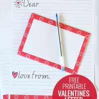 Free printable Valentines writing paper set for kids.