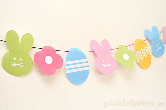 Free Printable Easter Shapes - use them to make a garland, gift tags, cupcake toppers and more!