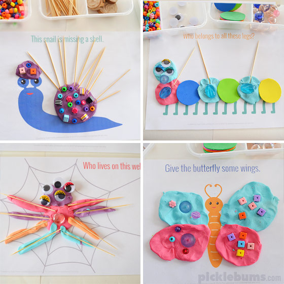Beautiful Bugs! Free printable playdough mats