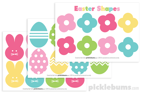 Free printable easter shapes picklebums free printable easter shapes use them to make a garland gift tags cupcake negle Images