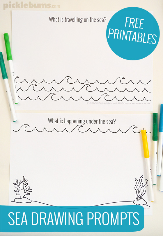 Sea drawing prompts - free printable!