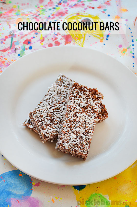 Chocolate Coconut Bars - an easy no wheat, no nuts, no refined sugar snack.