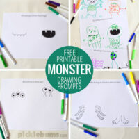 Monster drawing prompts - free printable