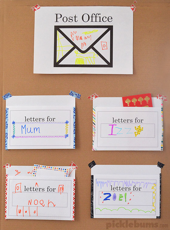Post office play free printable play set picklebums for Post office design your own stamps