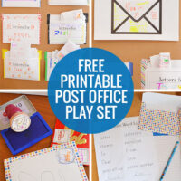 Post Office Play - use out free printables to set up your own post office complete with stamps and personal letter boxes!