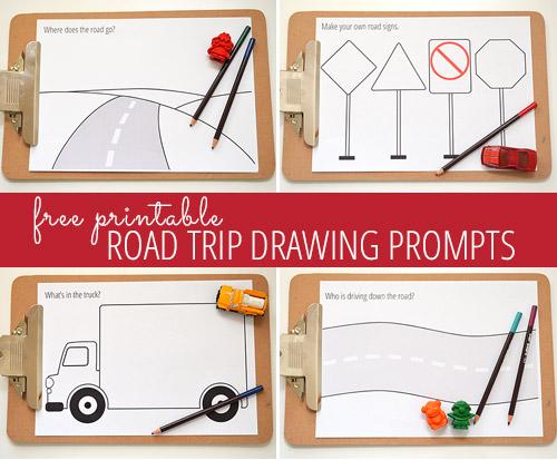 Road trip drawing prompts - free printable
