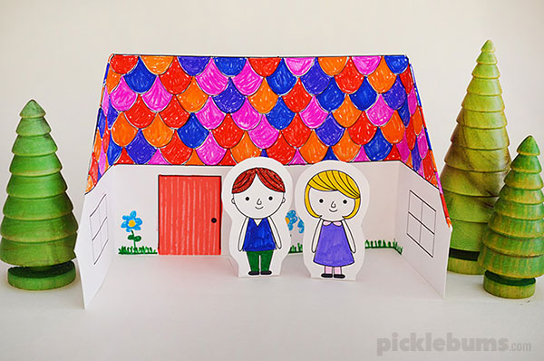 Fold a paper house from one sheet of paper with this free printable template and some easy instructions