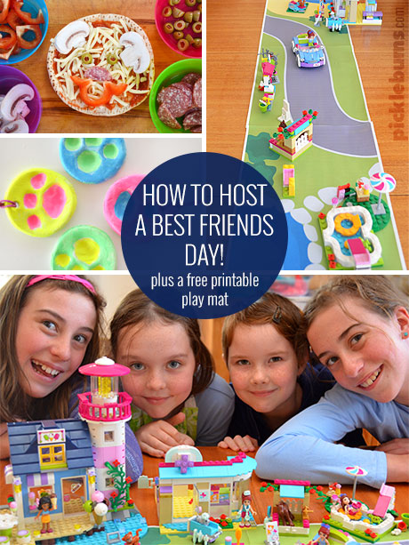 Host a 'Best Friends Day' with LEGO Friends and our easy ideas including a free printable Lego playmat