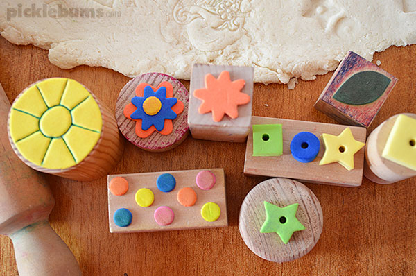 Play dough stamping - easy DIY stamps for making impressions in dough