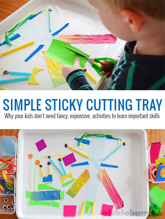 Try this simple sticky cutting tray invitation to play and find out why your kids don't need fancy or expensive activities to learn important skills