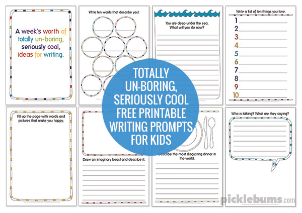 Totally un-boring, seriously cool, free printable writing prompts for kids!  Get your kids writing!