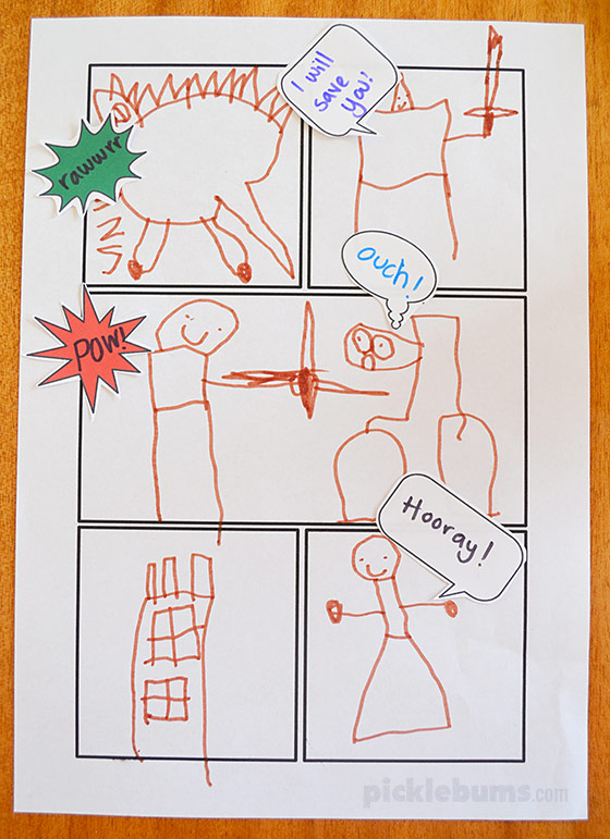 Crafty image with free printable comic strip template