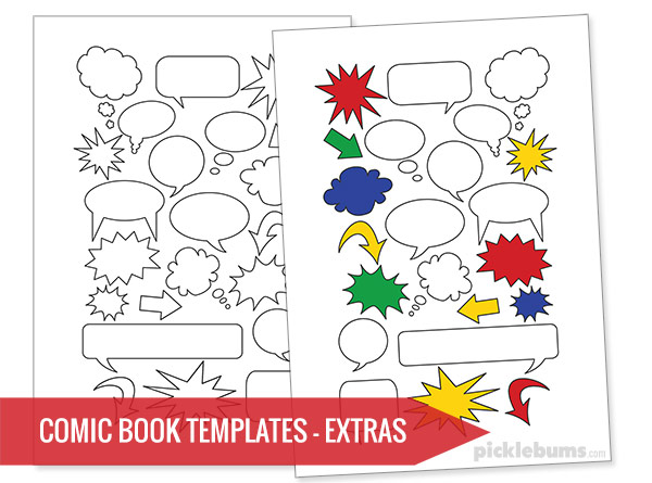 image regarding Comic Template Printable titled No cost Printable Comedian Guide Templates! - Pickles