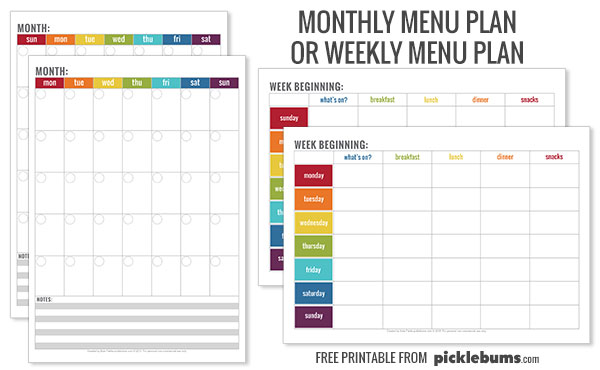 Free printable menu plans - monthly or weekly plans starting on Sunday or Monday.