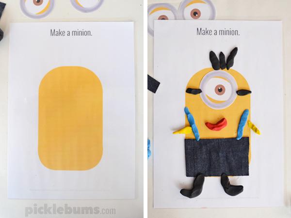 Make a Minion! Free Printable Minion Play Dough Mats
