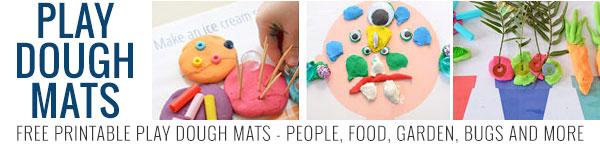 Free printable play dough mats - food, people, bugs, gardening, Christmas, Minions and more