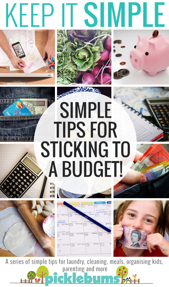 20+ simple, doable, tips for sticking to a budget, plus a free printable monthly budget tracking sheet.
